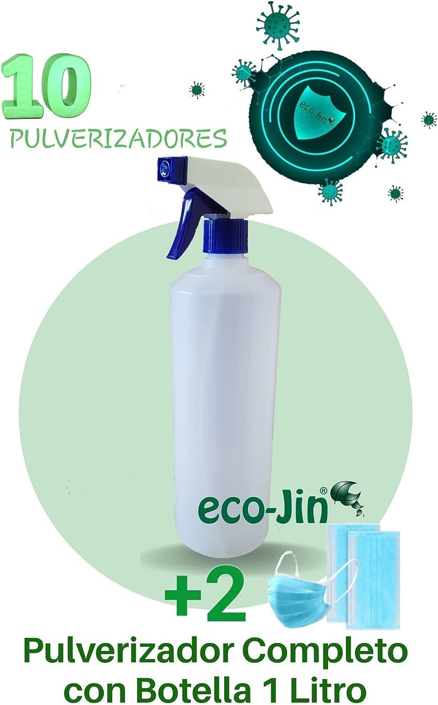 ECO-JIN 10 PULVERIZADORES Azul + Botella Completa 1 LITRO (10 Unidades)