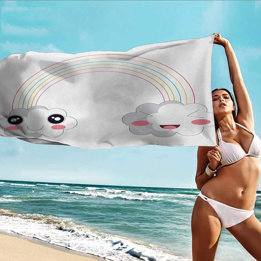 HOMEDD Beach Chair Towel,Anime Two Clouds and a Rainbow Happy Face Expressions Japanese Design for Kids Nursery,Absorbent Soft Washcloth,W63x31L Multicolor