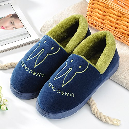 Aemember Bag Of Cotton Slippers With Couples Home Soft Thick Bottom Bottom Skid In Winter Indoor Home Furnishing Shoes,44-45 (Fit For 43-44 Feet),Navy Blue (Quan Bao) by Aemember (Image #1)