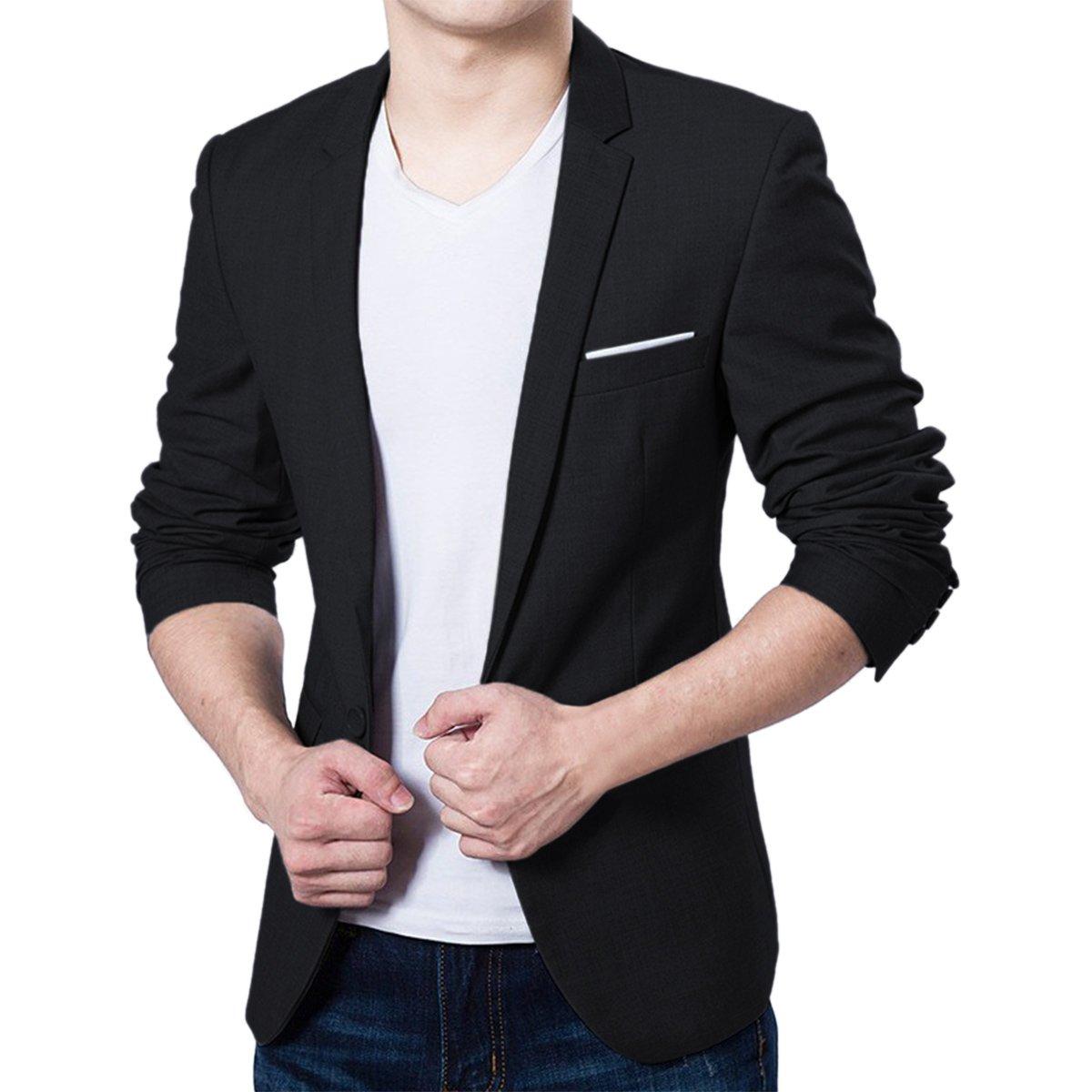 Pishon Men's Blazer Jacket Lightweight Casual Slim Fit One Button Sport Jackets, Black, Tag Size XXXXL=US Size L