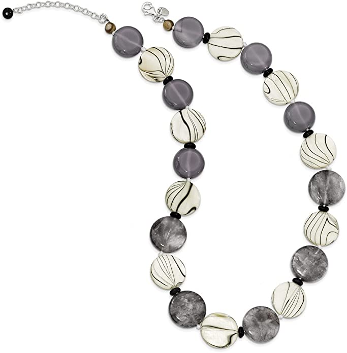 Jewelry Necklaces Natural Stone Sterling Silver Black and Grey Agate//MOP//Sardonyx Necklace