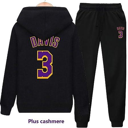Mens chándal Set Lakers # 23 James / 3# Davis Fleece con Capucha ...