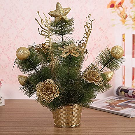 wapel christmas decorations 30cm pvc christmas tree golden flower bonsai 30cm - Christmas Tree Flower Decorations