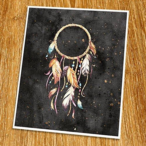 Dream Catcher Print (Unframed), Entrance Wall Decor, Watercolor Arrow, Hotel Decor, Tribal Art, Living Room Wall Art, Boho Print, 8x10