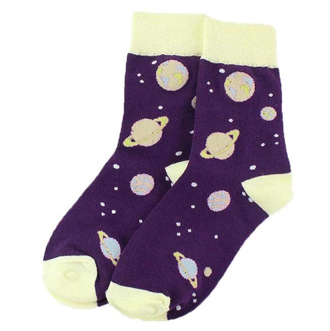 1 Pair Unisex Planet Socks Middle Cut Ankle Socking Cartoon Pattern Keep Feet Warm Supplies