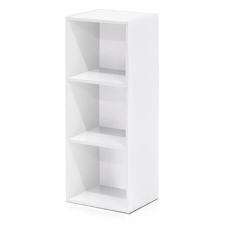 check out 258f0 d8a22 Furinno 3-Tier Open Shelf Bookcase, White 11003WH