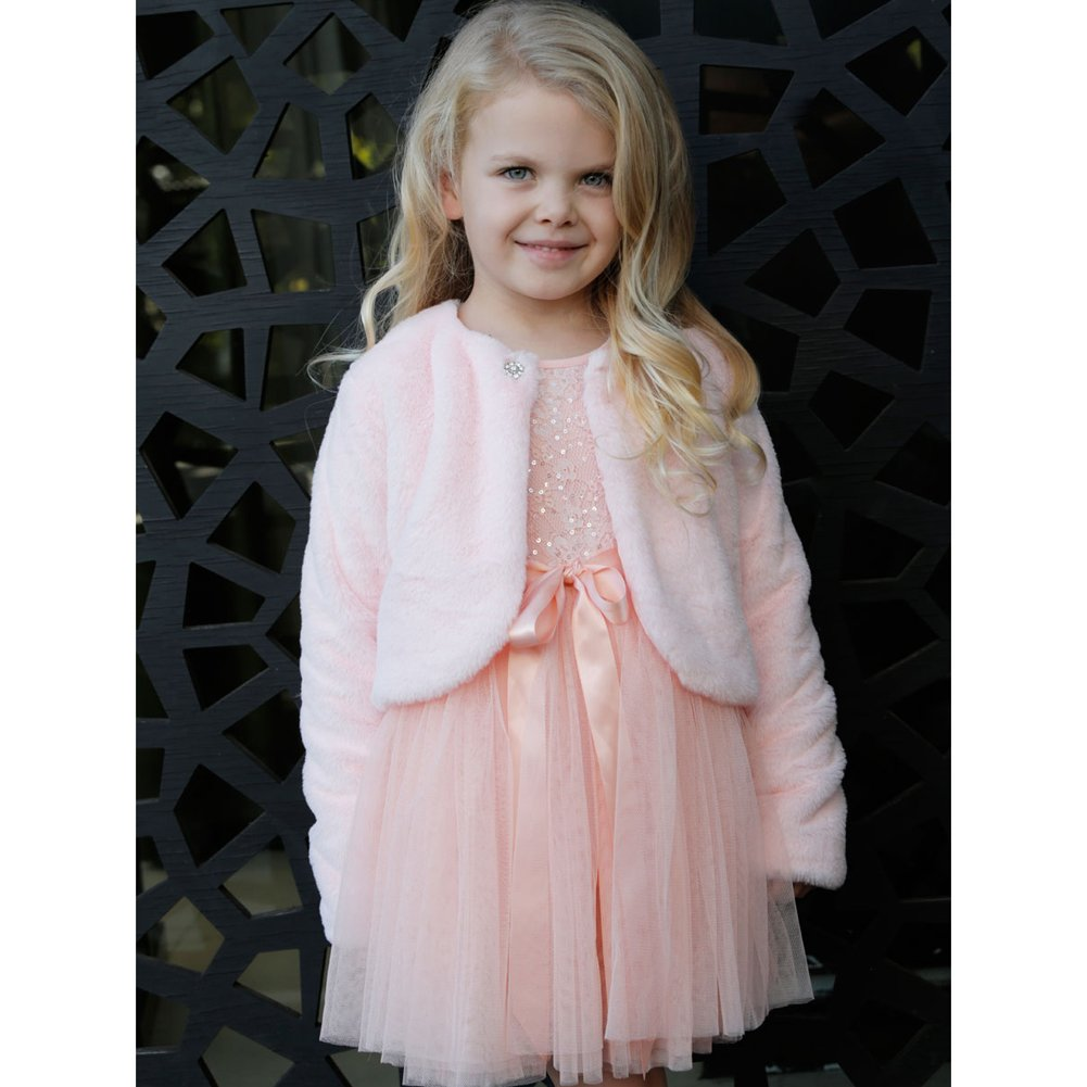 Designer Kidz Baby Girls Pink Button Long Sleeved Thalula Fur Shrug 3-18M