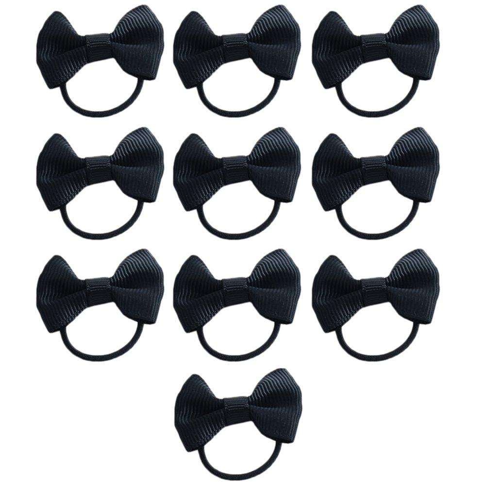 Spaufu 10 cintas de goma para el pelo con lazo para niños, sin metal, alta elasticidad, color azul, azul, 10 piezas