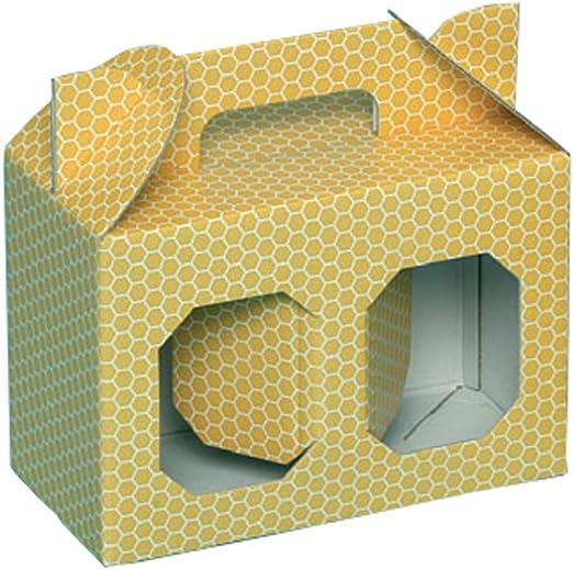 Caja Estuche de cartón para 2 macetas Miel de 1 kg (Amarillo) – Oferta 50 unidades: Amazon.es: Jardín