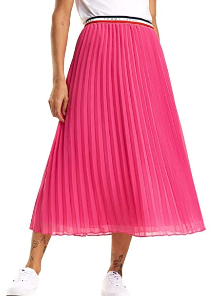 Tommy Jeans Falda Midi Pleated Rosa Mujer M Rosa: Amazon.es: Ropa ...