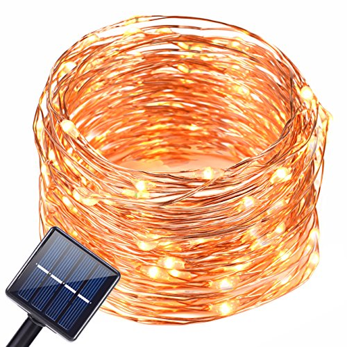 Oak Leaf Solar Powered String Light,19.6 ft 120 LED Starry String Lights,Outdoor Indoor Waterproof Copper Wire Decoration Lights For Garden,Yard,Home,Landscape,Warm White