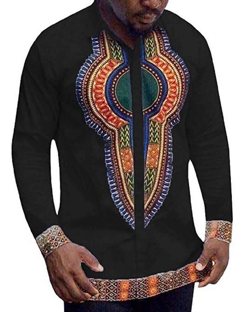 Huiyuzhi Men's African Dashiki Long Sleeve Print Tops (3XL, Black)