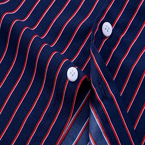 80b4f79d31 DOKKIA Men's Casual Long Sleeve Vertical Striped Slim Fit Dress Shirts