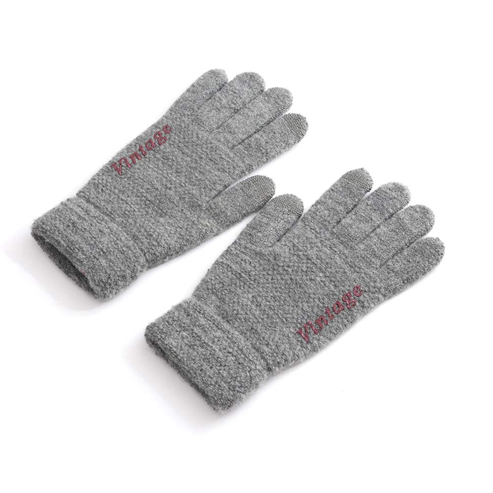 AINIYF Tech Touch Gloves | Men's Touch Screen Wool Gloves Winter Warm Locomotive Plus Velvet Thick Windproof Outdoor Cycling Ride (Color : Gray)