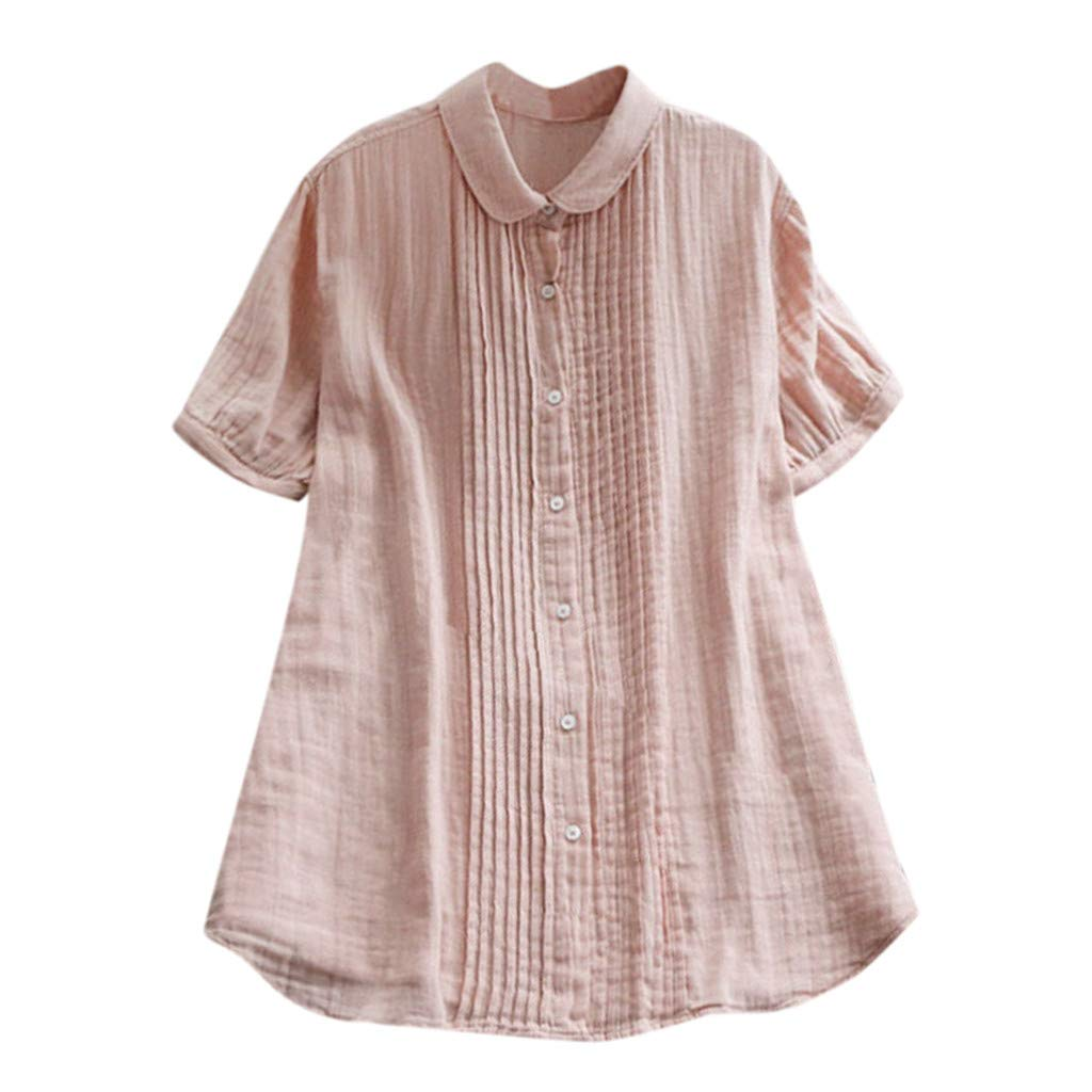 2019 New! Women's Solid Blouse Short Sleeve Casual Loose Tops Button Tee Shirt Little Little Fairy Blouse[Cabbage Price] (Pink, S)