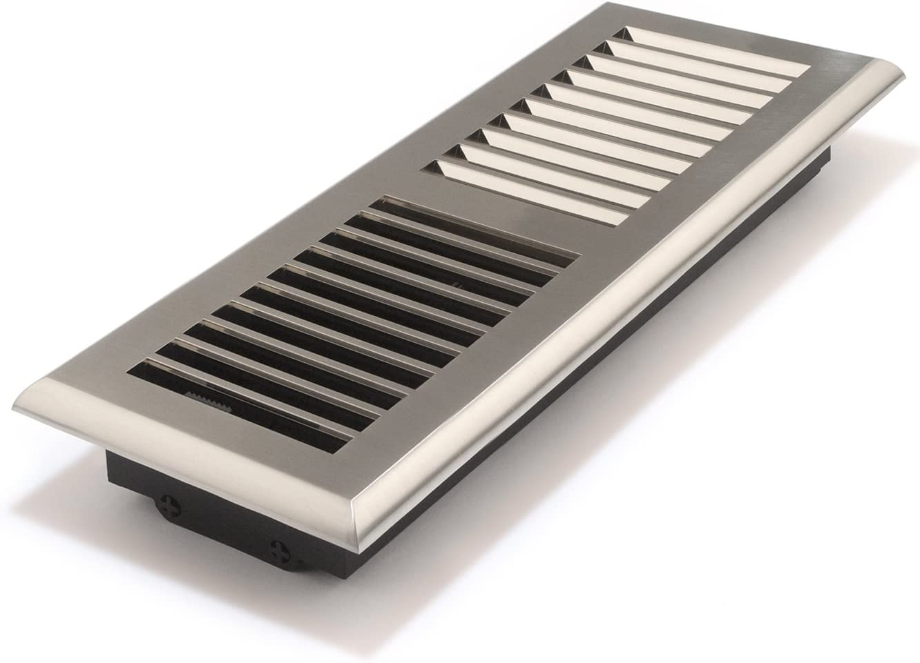 Accord APFRSNL412 Plastic Floor Register with Louvered Design, 4-Inch x 12-Inch(Duct Opening Measurements), Satin Nickel Finish