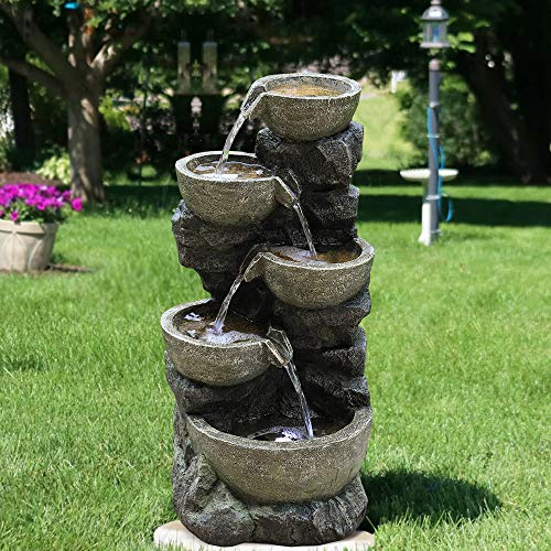 Outdoor Rock Fountains With Lights in US - 9