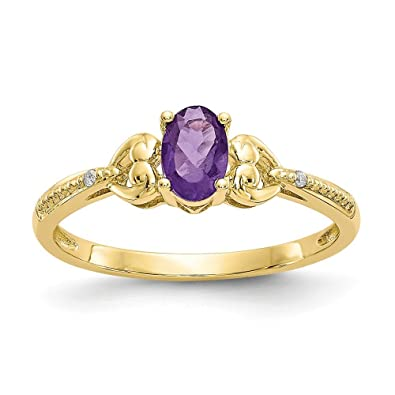 Amazon Com Best Birthday Gift 10k Amethyst Diamond Ring Jewelry