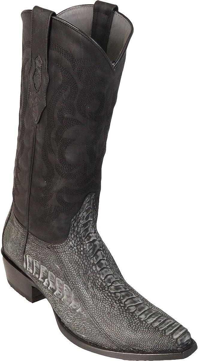 Original Sanded Black Ostrich Leg Skin Snip-Toe Boot