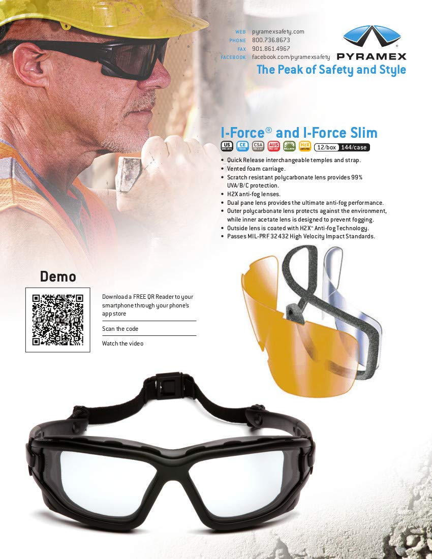 Pyramex I-Force Sporty Dual Pane Anti-Fog Goggle, Indoor/Outdoor Mirror Anti-Fog Lens by Pyramex Safety (Image #6)