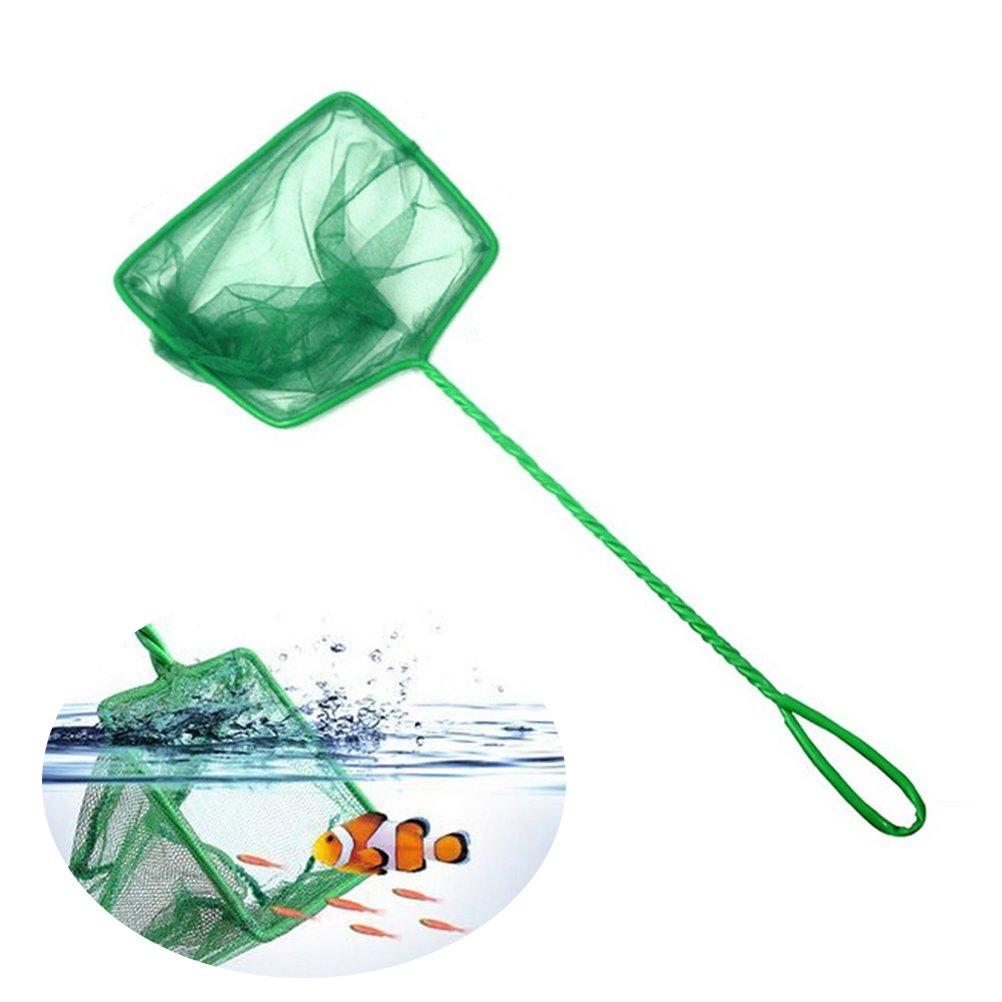 UEETEK Red de tanque de pescado para la limpieza del acuario, red de captura de malla de alambre grande con mango largo para el tanque de peces de acuario (verde)