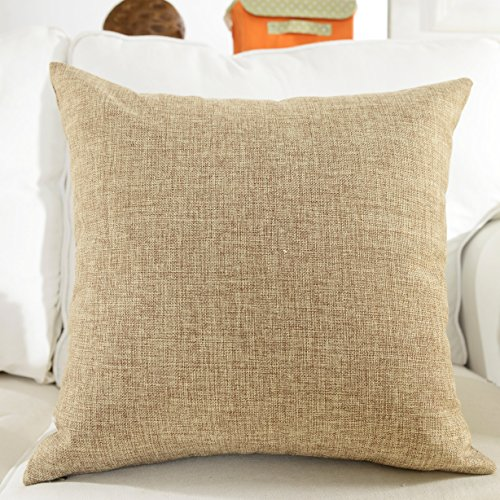 Home Brilliant Solid Linen European Pillowcase Pillow Sham Cushion Cover for Sofa, 24