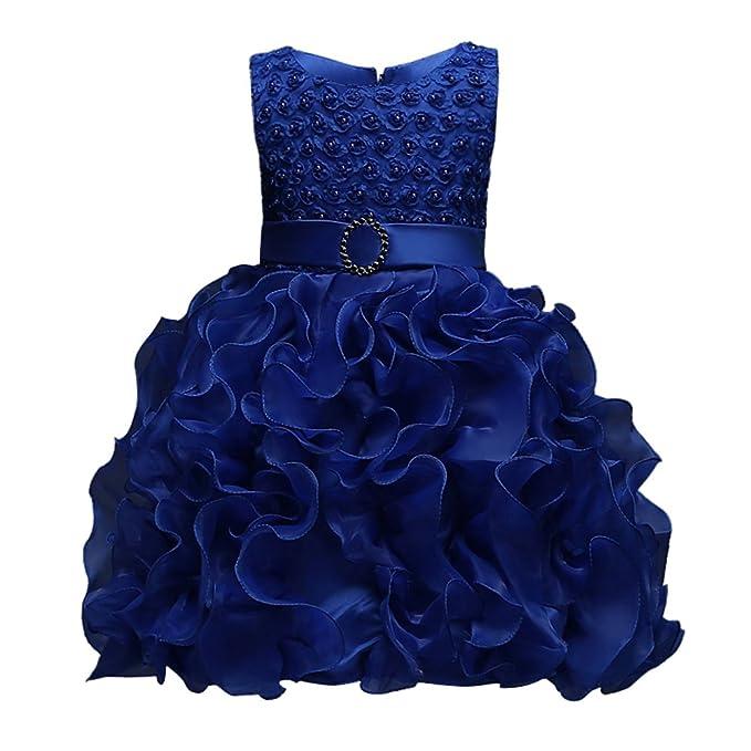 Sweetds Vestidos de Niña Princesa, Vestido de Fiesta de Bautizo de Princesa Ruffle Bowknot Vestido