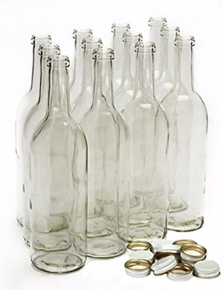 Home Brew Ohio 750 mL Clear Wine Bottles With 28 mm Metal Screw Caps by Home Brew Ohio