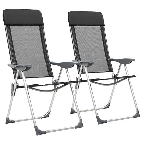 Festnight 2 Unidades Sillas de Camping Plegables Aluminio, Ajustable en 5 Posiciones, Reposacabezas Acolchado, Negro 57 x 73,5 x 111 cm