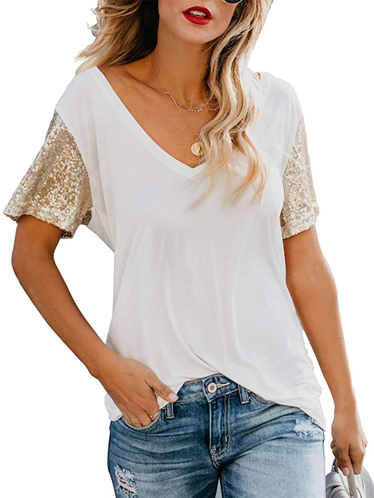 Topstype Women's Sequin Short Sleeve Tee V Neck T Shirts Glitter Sparkles Loose Blouse Tops