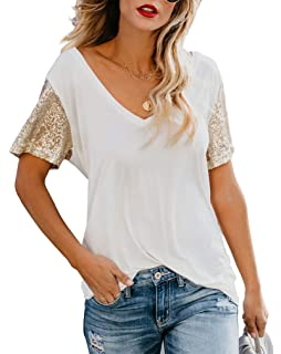 9dadd49688eb Topstype Women's Sequin Short Sleeve Tee V Neck T Shirts Sequin Loose  Blouse Tops