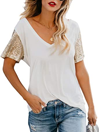Fashion Women/'s Summer Sequin Short Sleeve V Neck T-Shirt Blouse Tank Tops New