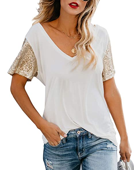 fe7685a4 Topstype Women's Sequin Short Sleeve Tee V Neck T Shirts Sequin Loose  Blouse Tops at Amazon Women's Clothing store: