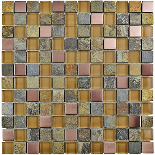 SomerTile GITCAACO Abbey Alloy Glass and Stone Mosaic Wall Tile, 12