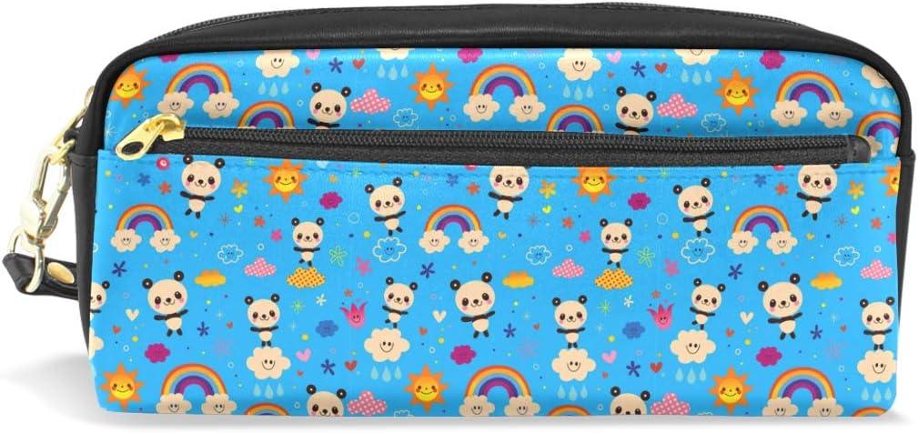 Estuche de piel con diseño de oso panda y nubes de arcoíris, color azul, práctico organizador de viaje: Amazon.es: Juguetes y juegos