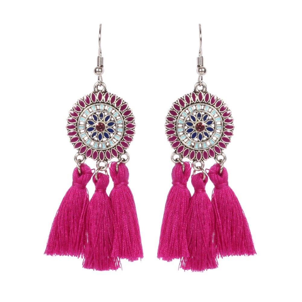 SODIAL(R) New Sun Flower Tassels Earrings Retro National Wind Earring Black 9tHz5Ibr