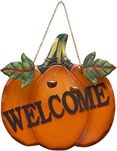 Wood Pumpkin Welcome Sign Front Door Decoration for Harvest Thanksgiving Halloween Fall Autumn Hanging Wall Decor with Metal Leaves and Bell