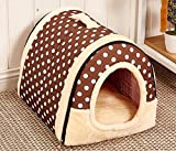 Multifuctional Warm Fleece Soft Removable Dog House Nest with Mat Foldable Pet Dog Cat Bed House for Small Medium and Large Dogs (L, Polka Dotted Brown) Review