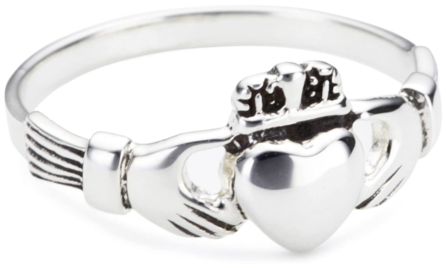 Assez Heritage Women's Sterling Silver Celtic Irish Claddagh Ring  CT95