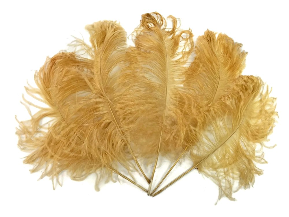1/2 lb - Antique Gold Ostrich Tail Wholesale Feathers (bulk) by Moonlight Feather
