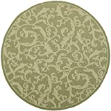 Cheap Safavieh Courtyard Collection CY2653-1E06 Olive and Natural Indoor/Outdoor Round Area Rug (6'7″ Diameter)