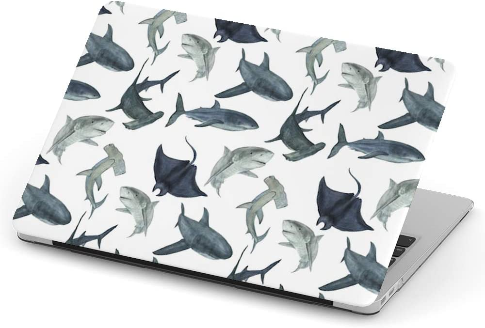 [ Compatible with Older Version MacBook Air 13 inch (Model A1369 & A1466 - Year 2010-2017) ] Full Body Hard Case Cover - Watercolor Painting Sharks