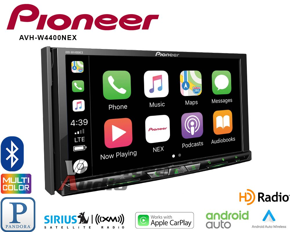 Volunteer Audio Pioneer AVH-W4400NEX Car Stereo Double Din Radio with Wireless Apple CarPlay, Android Auto, Bluetooth