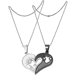 828c019e17 Sullery Antique Design Heart Shape I Love You Engraved Valentine Friendship  Couples Gift Two Pieces Pendent