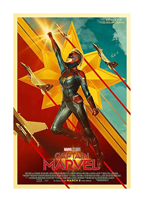 """Captain Marvel (Brie Larson, 2019) International Dolby Cinema Movie Poster (Version 3) - Size 24""""X36"""" - This is a Certified Poster Office Print with Holographic Sequential Numbering for Authenticity."""