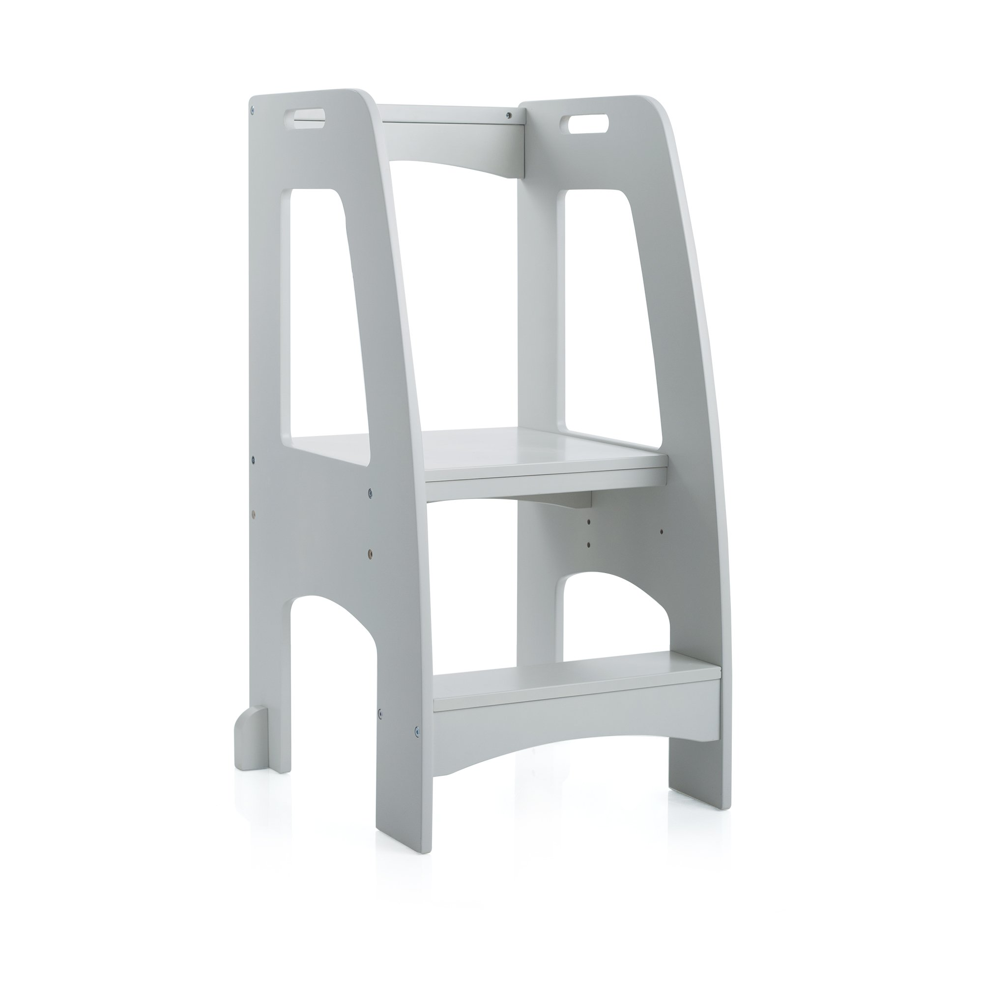 Guidecraft Kitchen Helper Tower Step-Up - Gray: Kids' Wooden, Adjustable Counter Height, Step Stool with Safety Handrails for Little Children - Toddler Furniture by Guidecraft