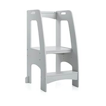 Guidecraft Kitchen Helper Tower Step Up Gray Kids Wooden Adjustable Counter Height Step Stool With Safety Handrails For Little Children