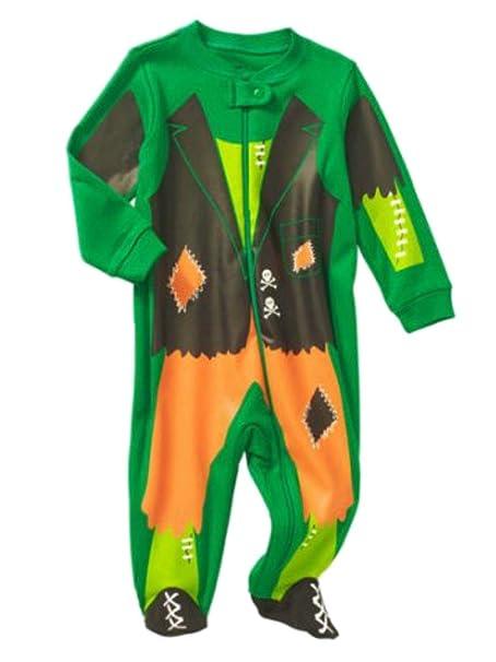 pumpkin infant boys green orange frankenstein sleeper baby halloween pajamas pjs