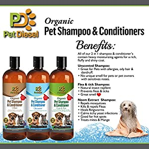 Organic Pet Shampoo and Conditioner 17 oz: Dry Skin Relief, Moisturizing For Shiny & Healthy Hair/Coat
