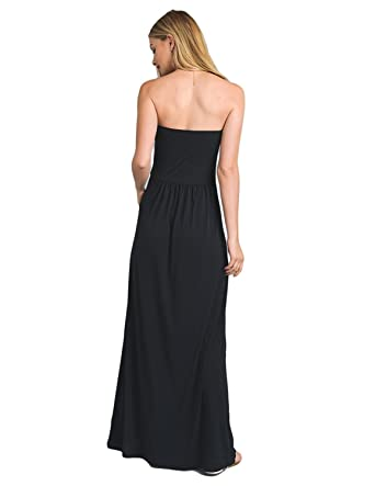 BUOYDM Women Casual Maxi Dress Summer with Flower Bandeau Strapless for Beach Party Evening Dresses: Amazon.co.uk: Clothing
